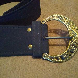 Filigree fabric dress belt.